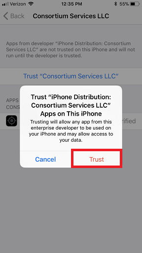 in the pop up, select trust to confirm the trust